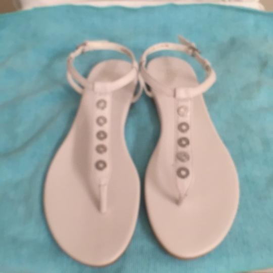 Cole Haan Leather Slingback T Strap Studded Roman White Silver Sandals