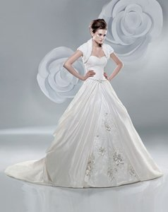 Anjolique Pale Ivory Taffeta/Lace 2221 Modern Wedding Dress Size 6 (S)