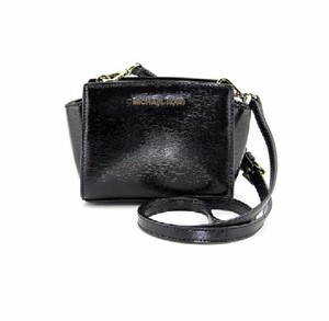 Michael Kors Designer Crossbody Mini Gold-tone Hardware Black Lacquered Saffiano Leather Messenger Bag