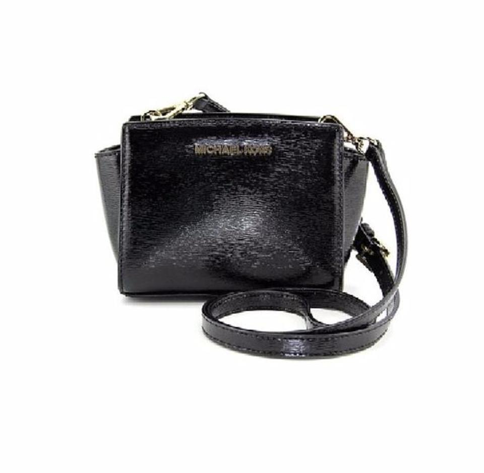5381e8c18467 Michael Kors Selma Mini Cross-body Black Lacquered Saffiano Leather Messenger  Bag