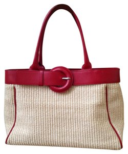Furla Straw Summer Travel Beach Satchel in Red