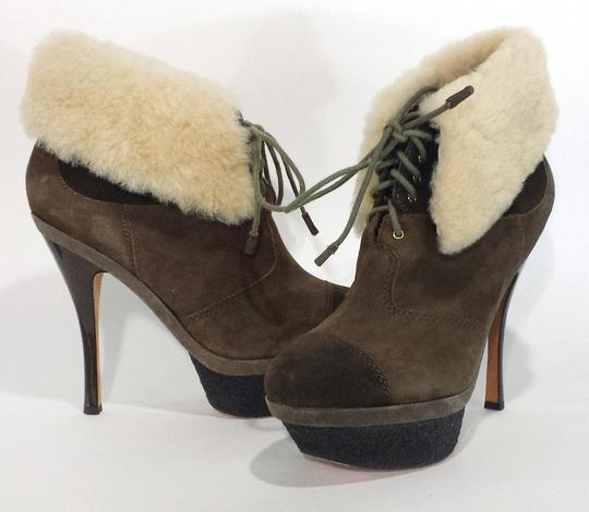 L.A.M.B. Suede And Fur Army Green Boots
