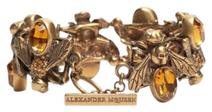 Alexander McQueen Authentic Alexander McQueen Antiquated Gold Crystal Embedded Bees Toggle Bracelet