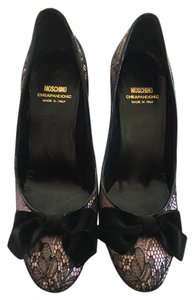 Moschino Pink Satin and Black Lace Pumps
