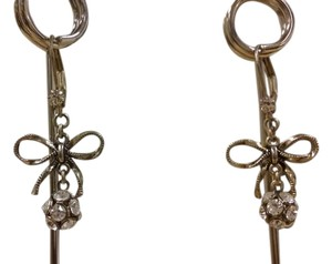 10k antique Gold earrings 10k gold antique dangling earrings with bow and crystals