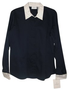 Liz Claiborne Solid Business Work Button Down Shirt Navy Blue