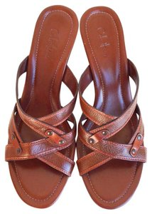 Cole Haan Ahslynn Open Toe Kitten Heel Mules Brown Wedges