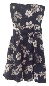 Hollister short dress Navy and White Floral Strapless Teen on Tradesy