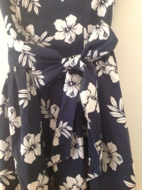 Hollister short dress Navy and White Floral Strapless Teen Juniors Bows Hawaiian on Tradesy