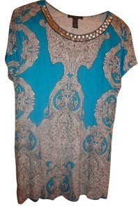 INC International Concepts Bejeweled Floral Paisley Top blue