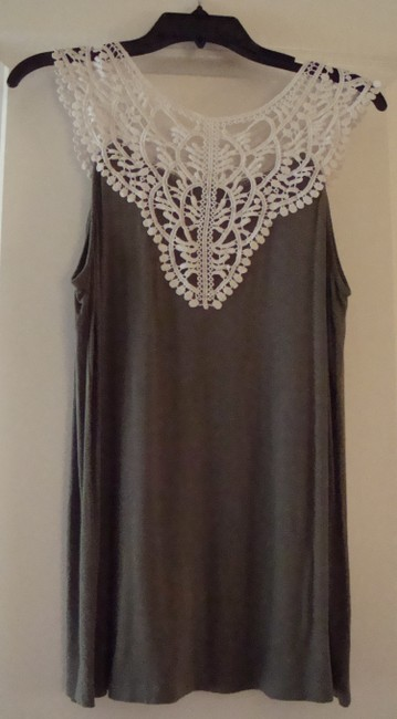 By Artisan Lace Tank Top Olive green and ivory