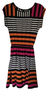 Aqua short dress black, white, orange and pink stripe on Tradesy