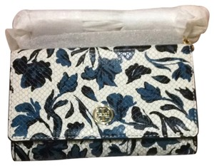 Tory Burch navy black multi Nouvea Flower Clutch