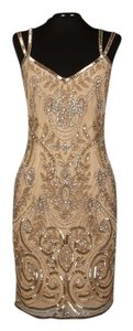 Theia Formal Mini Prom Beading Dress