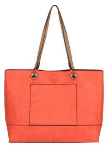 Wilsons Leather Tote in Coral/Brown