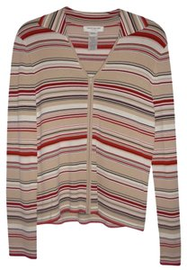 Jones New York Striped Zipper Collar Sweater