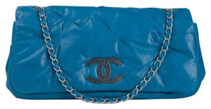 Chanel Blue Iridescent Calfskin Shoulder Bag
