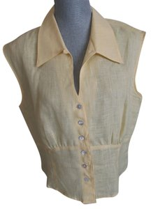 Coldwater Creek Sleeveless Buttons Collar Top Yellow