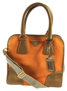 Prada Saffiano Saffiano Crossbody Tote in Orange and Caramel