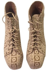 Jeffrey Campbell White lace over tan leather Platforms