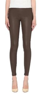 Vince Leather Legging Zipper Pants Brown Leggings