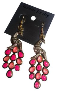 New Peacock Earrings Gold Tone Large Long J2662 Summersale