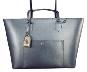 Lauren Ralph Lauren Leather Silver Hardware Tote in Navy