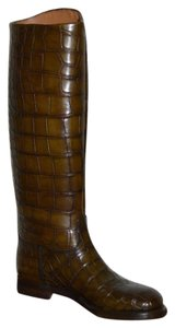 Gucci Leather Riding Brown Boots