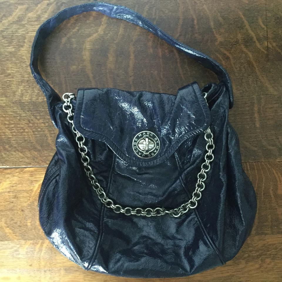 40cd0b8a2c59 Marc by Marc Jacobs Turnlock Patent Leather Patent Chain Hobo Bag Image 0  ...