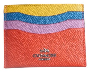Coach Coach Colorblocked Flat Leather Card Case #64859