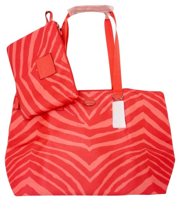 Item - Tote Zebra Print Packable Weekender Orange/Multi Nylon Diaper Bag