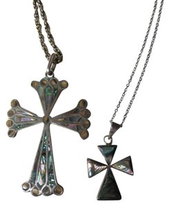 Other Two Sterling Abalone Cross Pendants