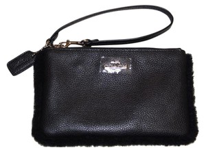 Coach Black Leather w/Shearling iPhone Galaxy Wristlet F64709