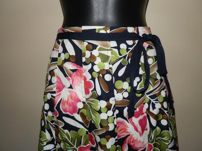 Talbots Flowered Pleated Ruffled Lined Belted Skirt Pink, brown, black,white and tan