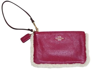Coach Coach Shearling Cranberry Leather Wristlet F64709 New with tag