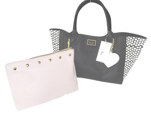 Betsey Johnson Perforated Hearts 2 In 1 Tote in bone/black/pink
