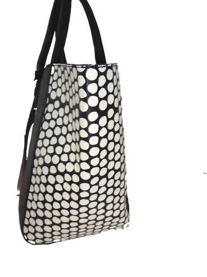 Betsey Johnson Perforated Hearts 2 In 1 Black/Bone Pouch Tote in bone/black/pink