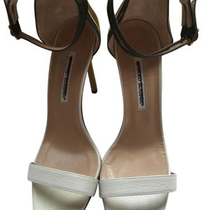 Manolo Blahnik White, yellow, gold, hunter green Sandals