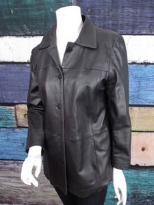Brooks Brothers Womens Smooth Buttery Leather Black Jacket