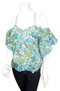 Anthropologie Vanessa Virginia Cold Puget Sounds Fish 0 Top Blue, Green