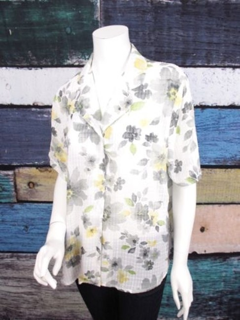 Preload https://img-static.tradesy.com/item/16336396/alfred-dunner-white-yellow-floral-sheer-chiffon-short-sleeve-top-blouse-shirt-0-0-650-650.jpg