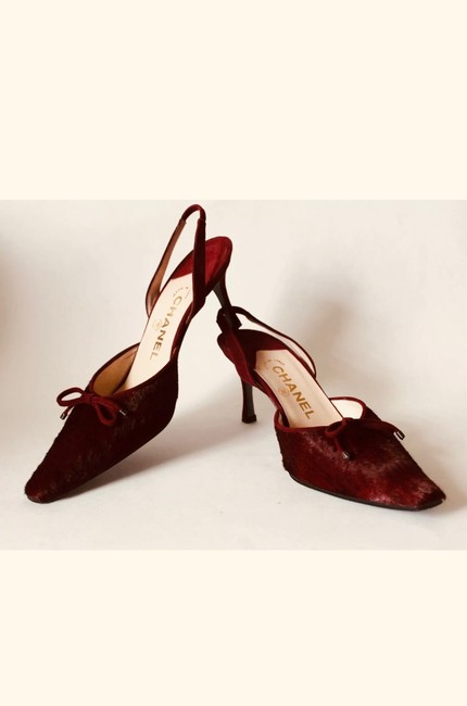 Item - Red/Maroon Leather/Suade/Fur Italy Made Pump Formal Shoes Size US 5.5 Narrow (Aa, N)