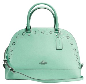 Coach Cora Domed Border Studed 37238 Satchel in seaglass/ silver tone