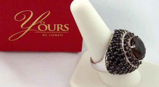 Yours By Loren Yours By Loren 7.95ct Smoky Quartz and Black Spinel Sterling Silver Dome Ring - Size 9