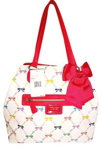 Betsey Johnson Tattoos Bone Multi Tote in bone/multi color bow print/fuchsia trim