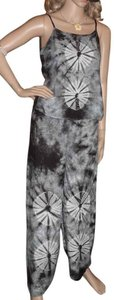 Tie Dye Black Tie Dye Tank Crop Pants Lounge Set Women's Size Small
