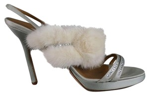 Valentino Fur Crystals Rhinestone Applique Satin Silver Sandals