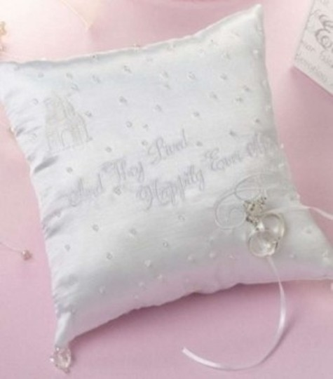White Satin Happily Ever After Ring Pillow *free Shipping*