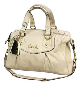 Coach Ashley Leather Satchel in LIGHT TAN