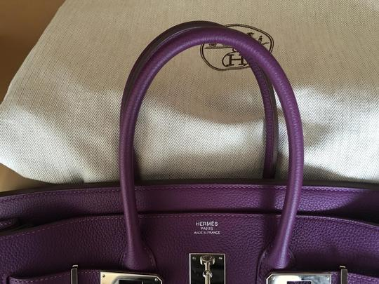 Hermès Leather Violet Birkin Anemone Tote in Purple